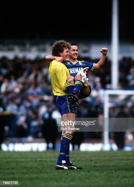 9th April 1988 FA Cup SemiFinal White Hart Lane Wimbledon 2 v Luton Town 1 Wimbledon goalkeeper Dave Beasant carries Dennis Wise who had scored the...