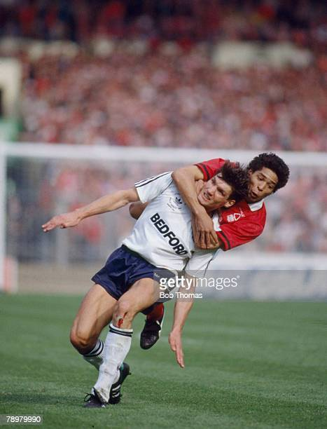 9th April 1989 Littlewoods Cup Final at Wembley Luton Town 1 v Nottingham Forest 3 Nottingham Forest's Des Walker stops Luton Town's Mick Harford...