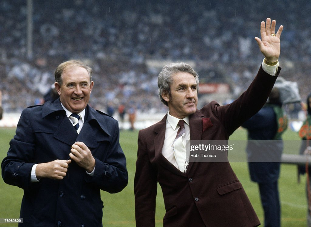 9th May 1981, FA, Cup Final at Wembley, Tottenham Hotspur 1 v Manchester City 1, a,e,t, Former Tottenham Hotspur captains Danny Blanchflower, left and Dave MacKay introduced to the crowd before the game