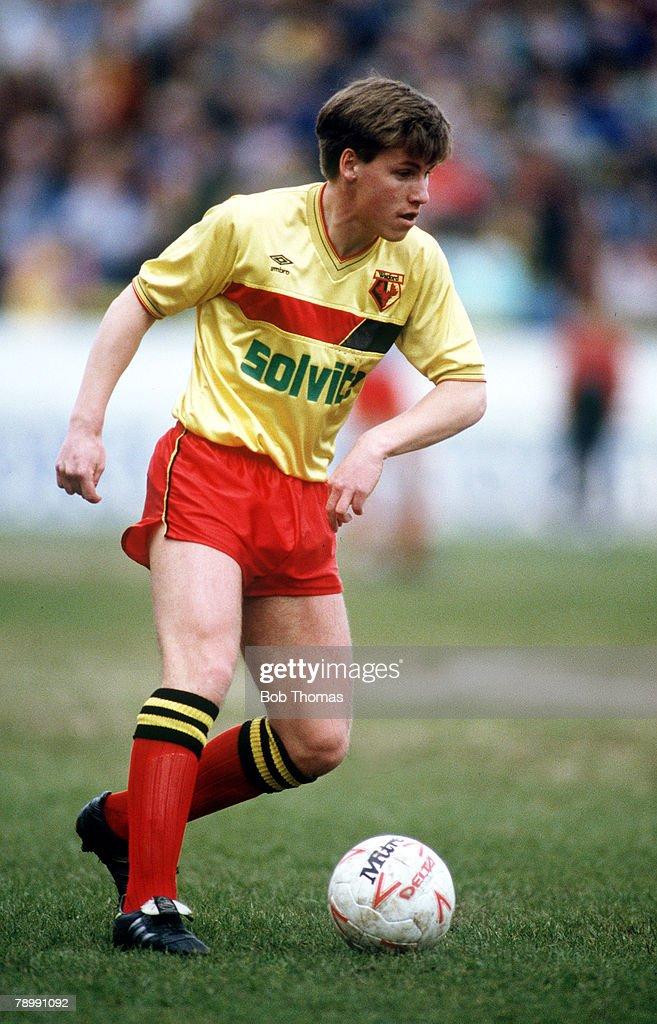 Sport. Football. pic: April 1988. Nigel Gibbs, Watford full back. : News Photo