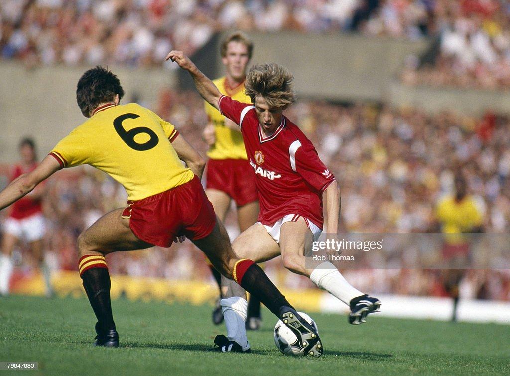 BT Sport, Football, pic: August 1984, Division 1, Manchester United 1 v Watford 1, Manchester United's Danish international Jesper Olsen takes on Watford's Lee Sinnott : News Photo