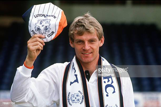 August 1989 Danish international Lars Elstrup having just signed for Luton Town
