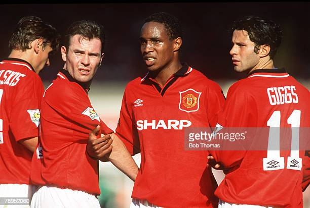 August 1994 FA Charity Shield at Wembley Manchester United 2 v Blackburn Rovers 0 Manchester United defensive wall left right Andrei Kanchelskis...