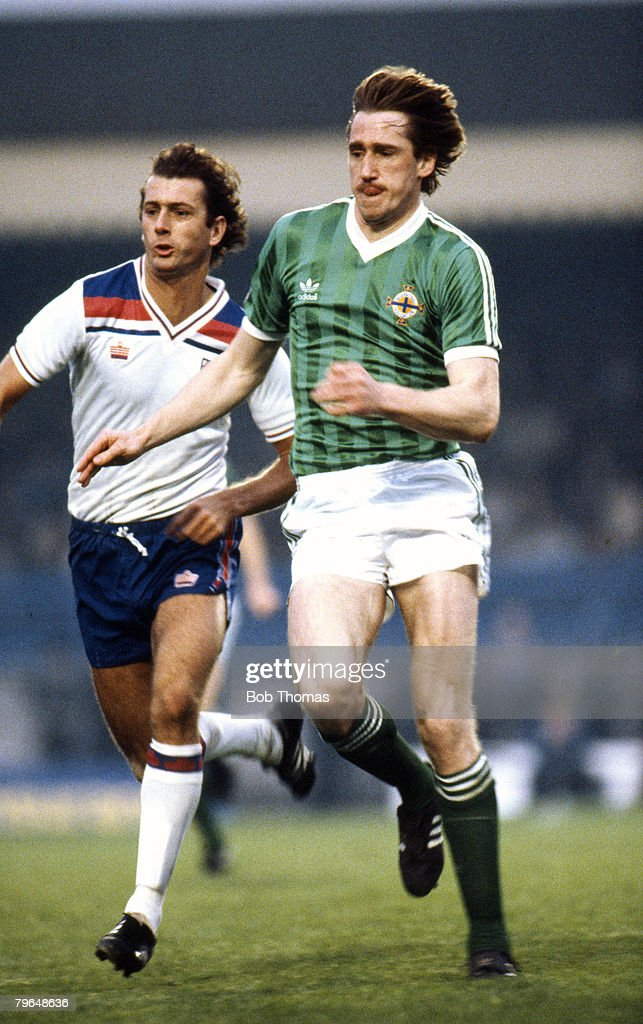 British Championship in Belfast, May 1983, Northern Ireland 0 v England 0, Northern Ireland's John McClelland, right, in a race for the ball with England's Trevor Francis, John McClelland outjumps Derby County's John Gregory, John McClelland won 53 Northern Ireland international caps between 1980 and 1990