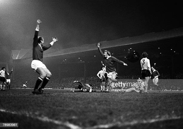 cira 1970 Manchester United's Denis Law celebrating a goal