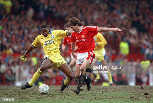 circa 10th February 1991 Rumbelows Cup SemiFinal 1st Leg Manchester United 2 v Leeds United 1 Leeds United's Chris Fairclough contests a ball with...