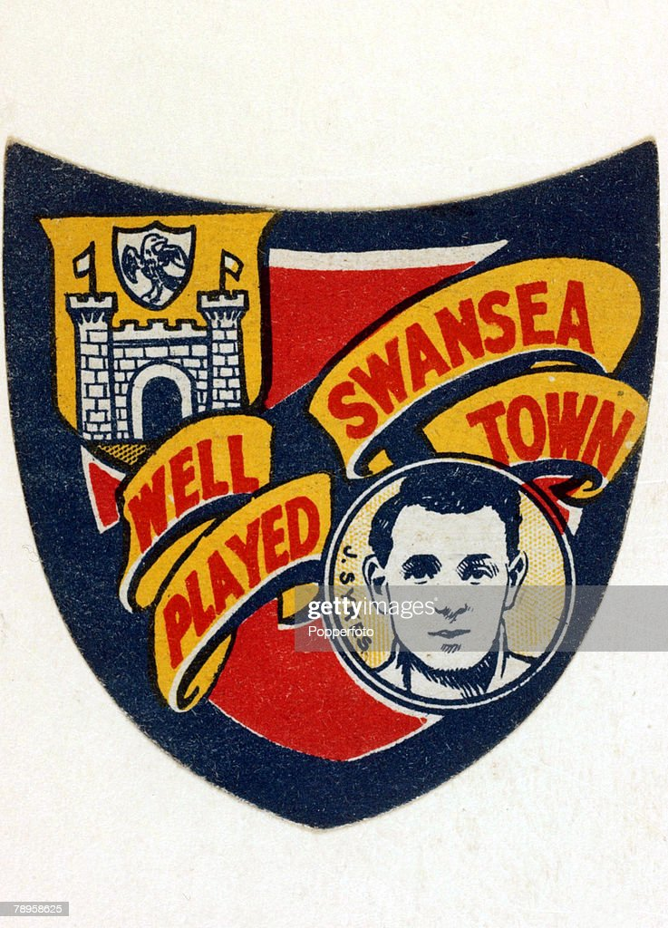 """Sport. Football. pic: circa 1927. Colour illustration presented by """"Boys' Magazine"""" shows a badge style card """"Well Played Swansea Town"""" featuring Swansea player J.Sykes. : News Photo"""