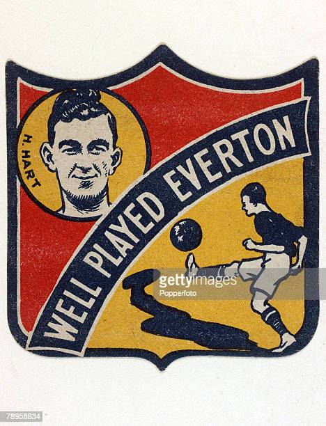 circa 1927 Colour illustration presented by 'Boys' Magazine' shows a badge style card 'Well Played Everton' featuring Everton player HHart