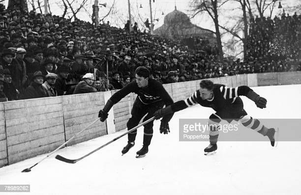 circa 1930's International Ice Hockey Canada 5 v Germany 0 Action from the game showing an incident close to the crowd
