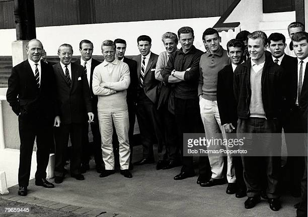 circa 1963 Manchester United Manager Matt Busby with his Manchester United players who include Maurice Setters Albert Quixhall Denis Law Harry Gregg...