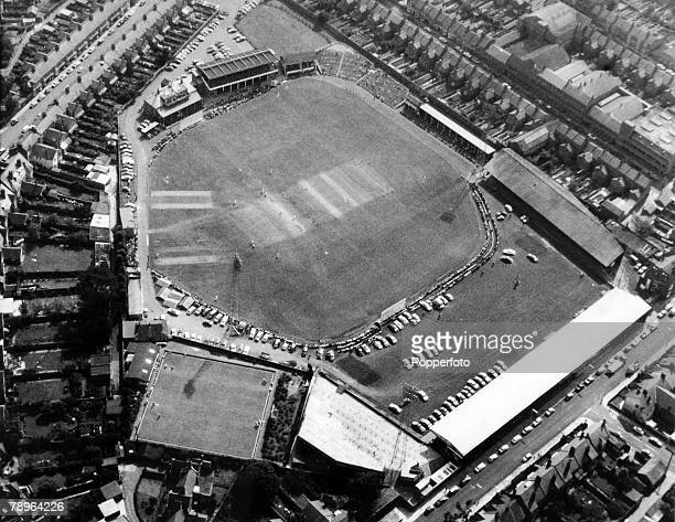 circa 1965 An aerial view of the Northamptonshire County Cricket ground In the winter Northampton Town played football on this shared facility There...