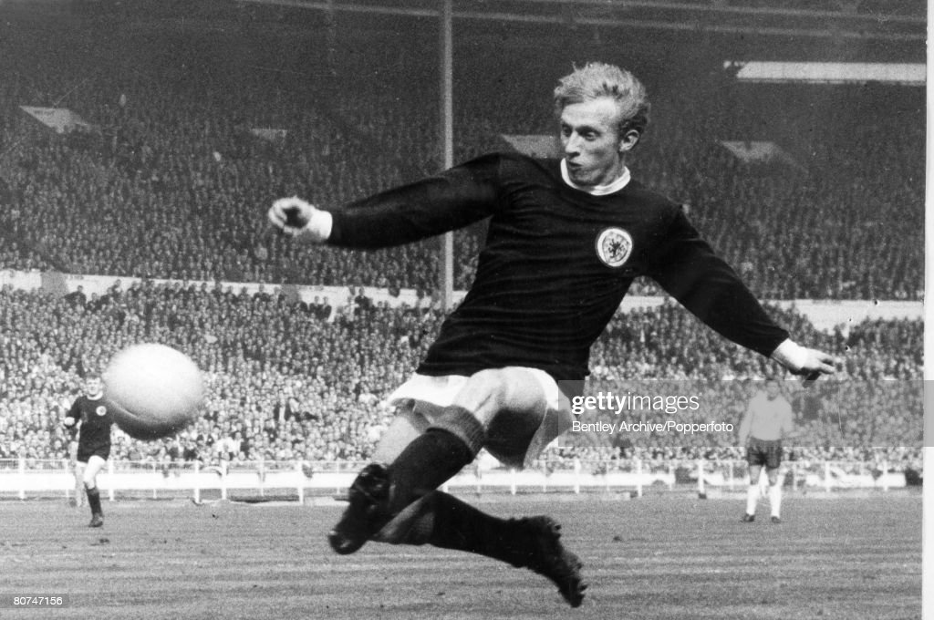 Sport Football. pic: circa 1967. England v Scotland at Wembley. Denis Law, Scotland striker. Denis Law won 55 Scotland international caps between 1959-1974 : News Photo