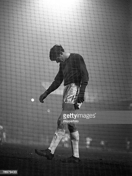 circa 1968 Division 1 Manchester United v West Bromwich Albion at Old Trafford West Bromwich Albion goalkeeper John Osborne despairs after conceding...
