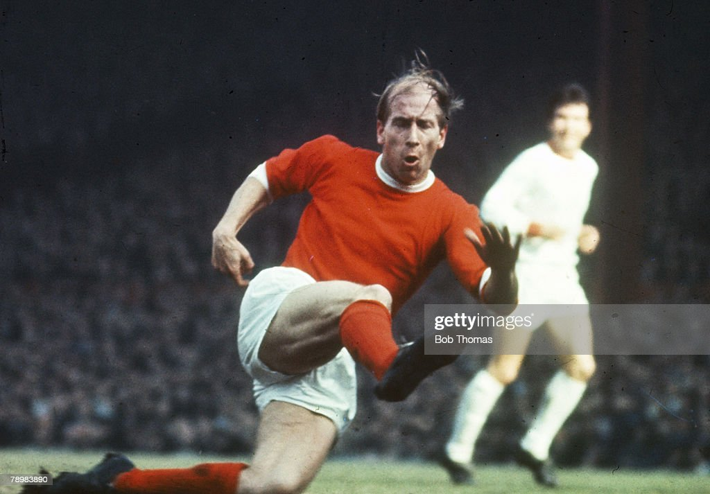 circa 1968, Manchester United's Bobby Charlton in action