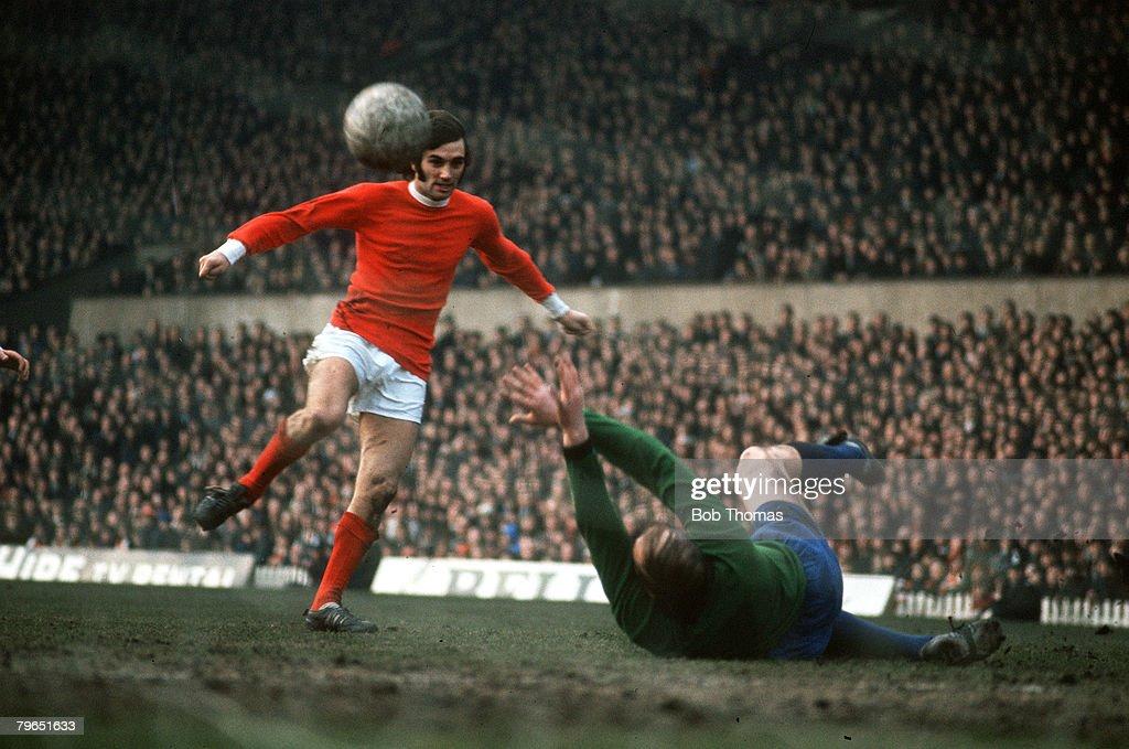 circa 1968, Manchester United's George Best scoring against Sheffield Wednesday