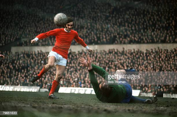 circa 1968 Manchester United's George Best scoring against Sheffield Wednesday