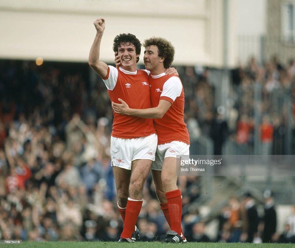 Sport. Football. pic: circa 1980. Division 1. Arsenal's strikers Frank Stapleton and Alan Sunderland, right celebrate Stapleton's goal against derby rivals Tottenham Hotspur. : News Photo
