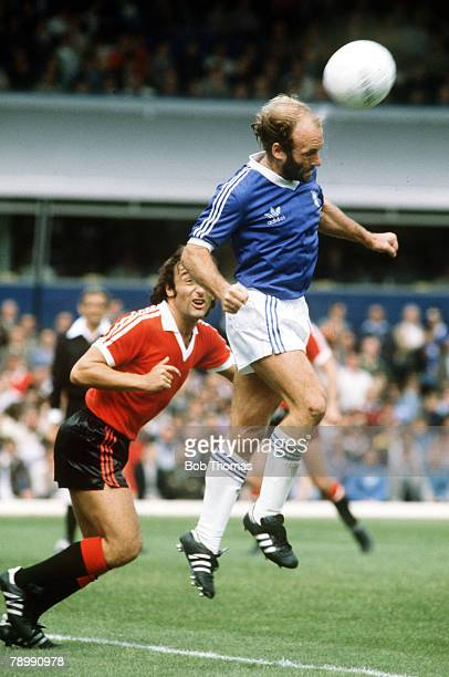 circa 1980 Division 1 Birmingham City v Manchester United Archie Gemmill Birmingham City heads clear from Manchester United's Lou Macari