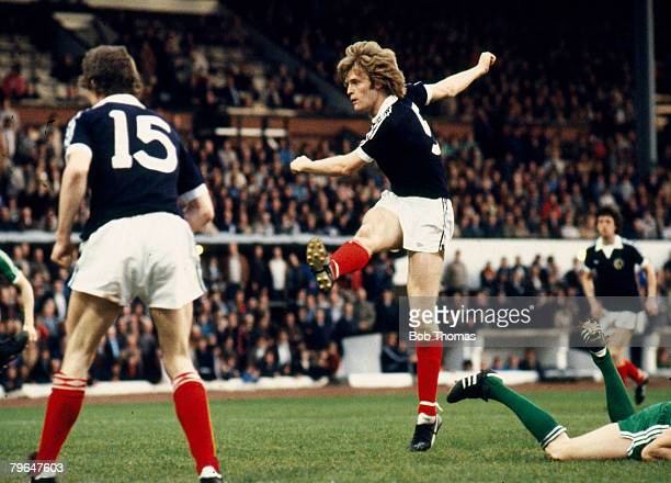circa 1980 International Match Scotland v Northern Ireland Scotland's Gordon McQueen fires on a shot Gordon McQueen won 30 Scotland international...