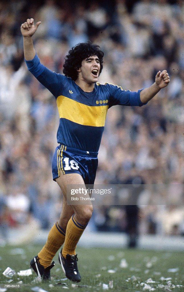 BT Sport, Football, pic: circa 1981, Diego Maradona, Boca Juniors, Diego Maradona won 91 Argentina international caps between 1974-1994 : News Photo