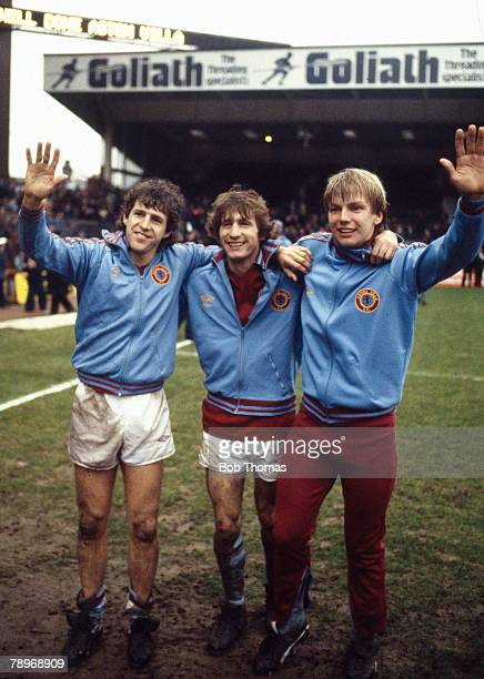 circa 1981 Division 1 Aston Villa's leftright Colin Gibson Gordon Cowans and Gary Shaw celebrate winning the League Championship after their last...