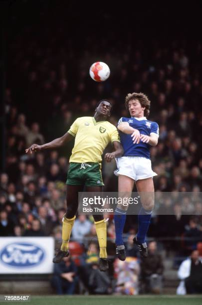 circa 1981 Division 1 Ipswich Town v Norwich City Norwich City's Justin Fashanu jumps for a high ball with Ipswich Town's Russell Osman