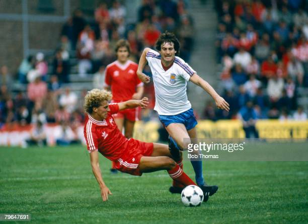 circa 1981 Friendly Match West Ham United's Jimmy Neighbour is tackled by Aberdeen's Neale Cooper