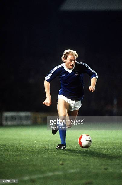 circa 1982 Ipswich Town's Alan Brazil races away with the ball