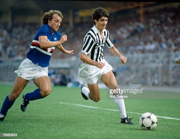 circa 1982 Italian League Serie A Sampdoria v Juventus Juventus striker Paolo Rossi right is challenged by Sampdoria's Ferroni
