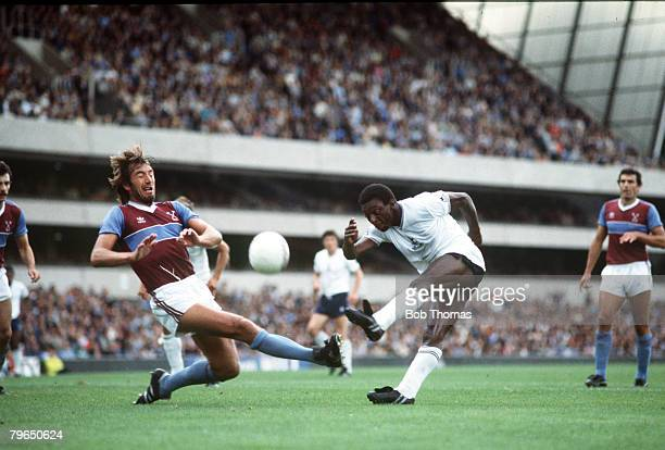 circa 1982 Tottenham Hotspur's Garth Crooks shoots past West Ham United defender Billy Bonds Garth Crooks had the most successful period of his...