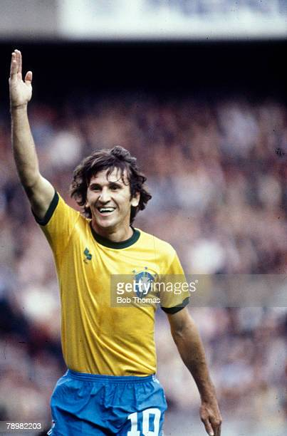 Circa 1982, Zico, Brazil, one of Brazil's best players of the early 1980's, who won 71 international caps between 1976-1989 and represented Brazil in...