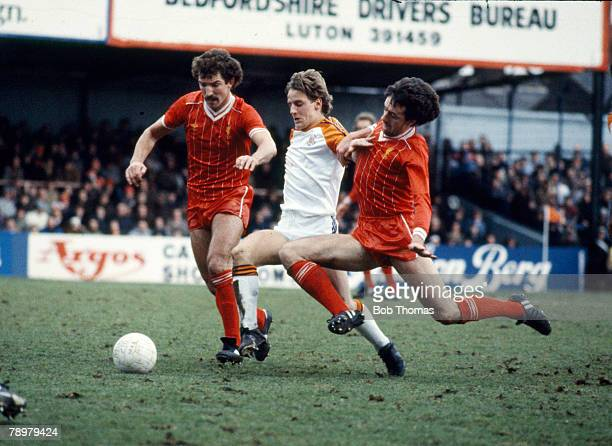 circa 1983 Luton Town's Paul Walsh opposed by Liverpool's Graeme Souness left and Mark Lawrenson right