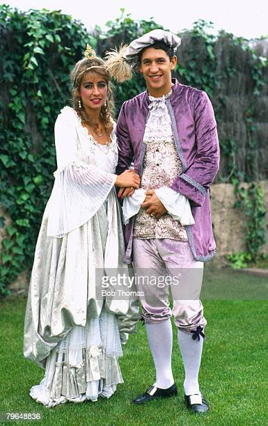 circa 1987 Barcelona and England's Gary Lineker poses with his wife Michelle resplendent as pantomime characters Cinderella and Prince Charming Gary...