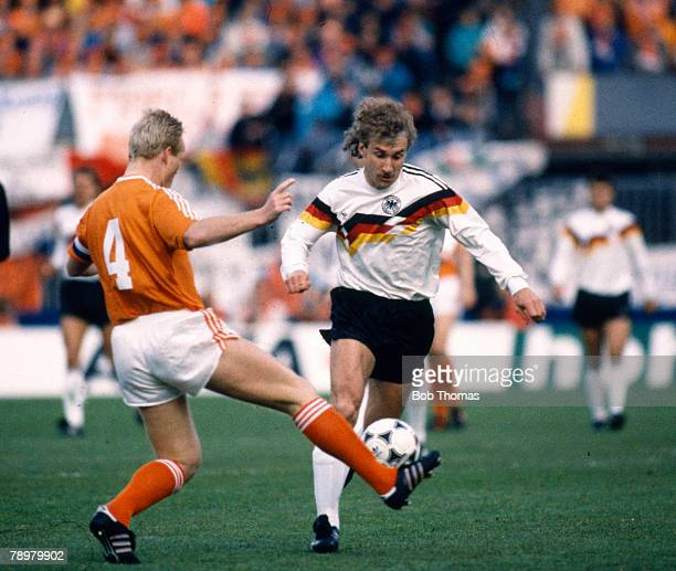 circa 1989 World Cup Qualifier in Rotterdam Holland 1 v West Germany 1West Germany's Rudi Voller challenged by Holland's Ronald Koeman Rudi Voller...