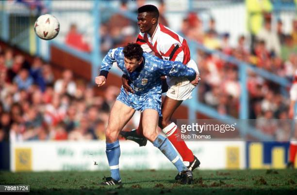 circa 1990 Arsenal's Paul Davis right in a battle for the ball with Coventry City's Brian Borrows Paul Davis a midfielder played for Arsenal from...