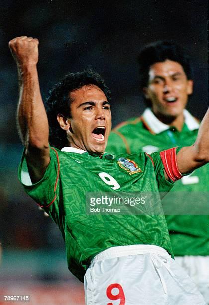circa 1990 Copa America Mexico striker Hugo Sanchez celebrates a goal