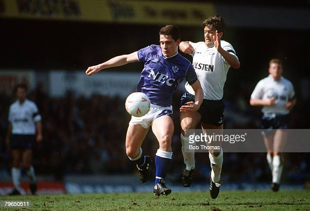 circa 1990 Division 1 Tottenham Hotspurv Everton Everton striker Tony Cottee under pressure from Tottenham Hotspur defender Gary Mabbutt Tony Cottee...