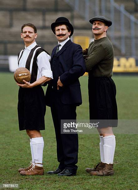 circa 1990 Notts County's Phil Turner Neil Warnock the Manager and Steve Cherry dressed in historic clothes as they pose for the camera