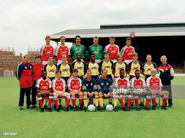 circa 19901991 season Arsenal FC Arsenal squad back row leftright Tony Adams Steve Bould David Seaman Alan Miller Any Linighan David O'Leary Middle...