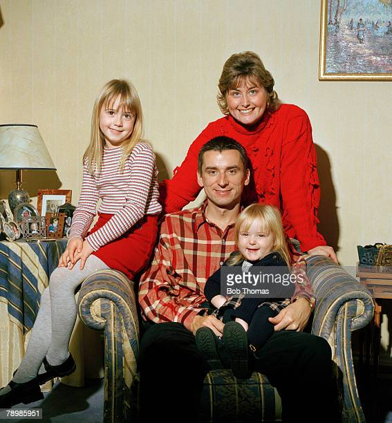 circa 1990s Arsenal striker Alan Smith with wife and two daughters