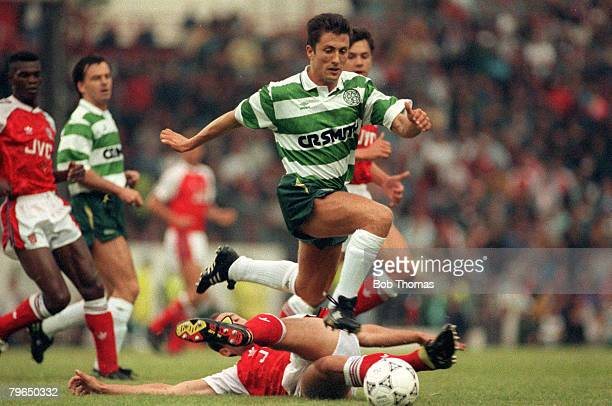 Circa 1994, Celtic v Arsenal, John Collins, Celtic midfielder, John Collins a Scottish international who has won 58 caps moved from Celtic to play in...