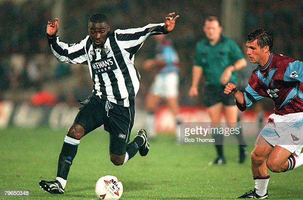 circa 1994 Newcastle United striker Andy Cole left is challenged by West Ham United's Steve Potts Andy Cole made a name for himself at Newcastle...