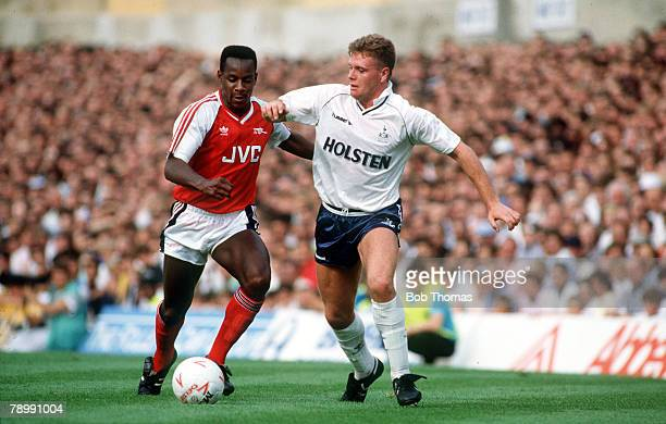 circa1990 Division 1 Arsenal v Tottenham Hotspur Tottenham Hotspur's Paul Gascoigne right contests the ball with Arsenal's Michael Thomas in the...