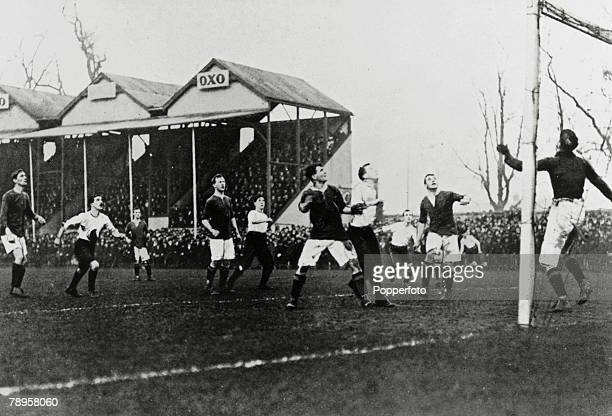 January 1905 FA Cup Manchester United v Fulham The United goal is threatened during one of the three games which were needed to decide the tie which...