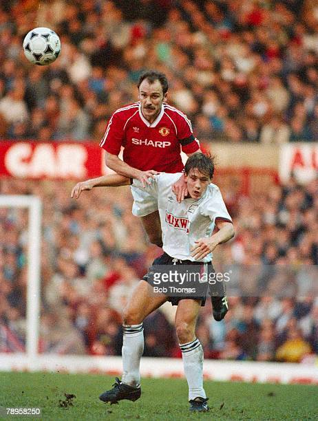January 1990 Division 1 Manchester United 0 v Derby County 2 Manchester United's Mike Phelan outjumps Derby County's Craig Ramage