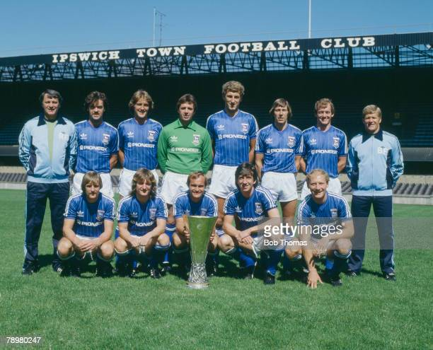 July 1981 Ipswich Town FC the 1981 UEFA Cup Winners with the trophy Back row leftright Bobby Robson John Wark Russell Osman Paul Cooper Terry Butcher...