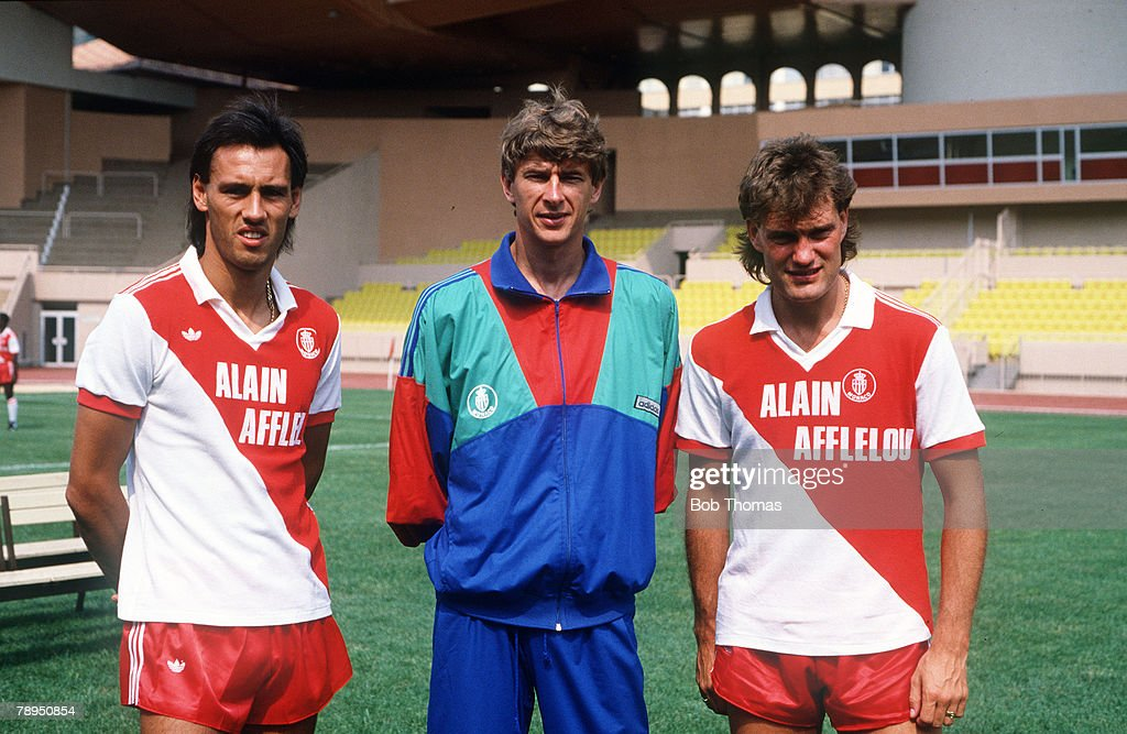 Sport. Football. pic: July 1987. England internationals Mark Hateley, left, and Glenn Hoddle with the Monaco Coach Arsene Wenger, the players recent signings for Monaco. : News Photo