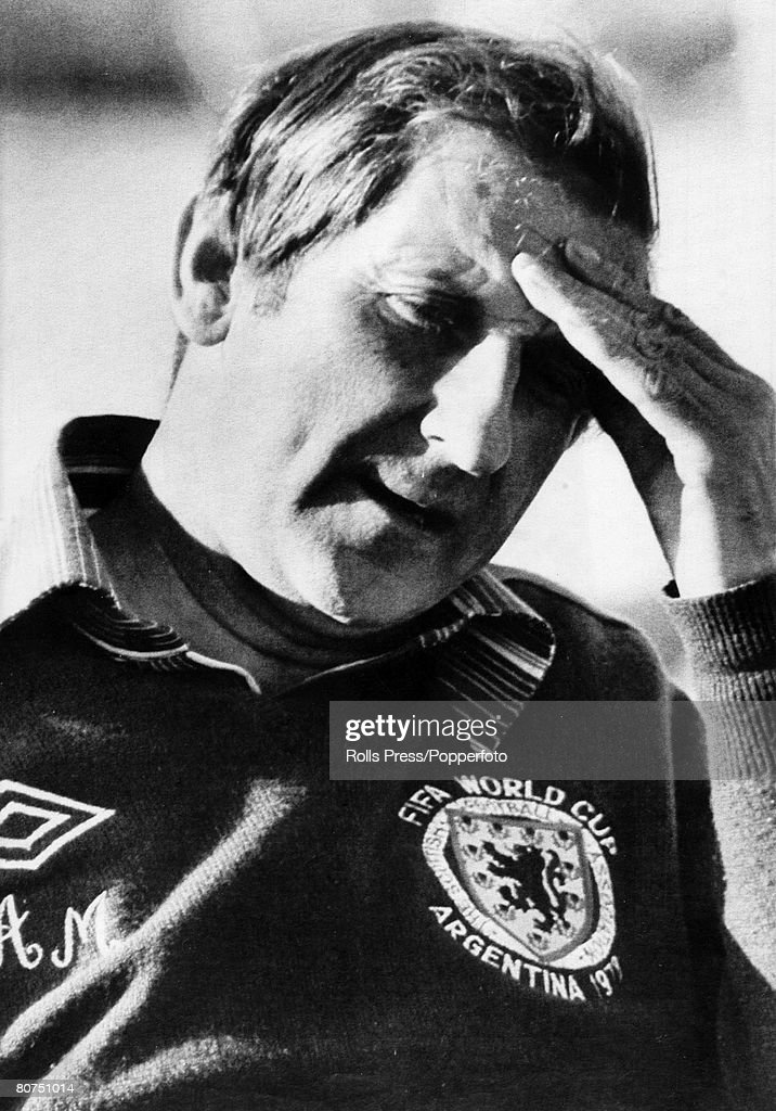 Sport Football. pic: June 1978. Alta Gracia, Argentina. Scotland Manager Ally Macleod looking worried during a World Cup Finals that produced poor results and a drug scandal. : News Photo