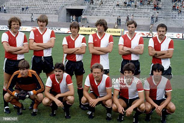 June 1981 Coppa Super Clubs Tournament Milan Feyenoord team group some players shown Joop Hiele Arie Haan Ivan Nielsen Rudi Krol
