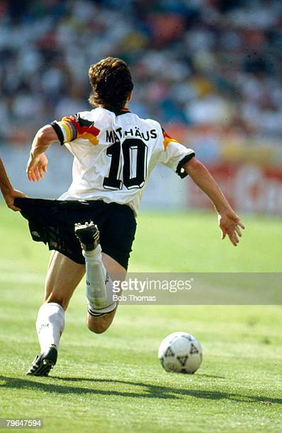 June 1993 Washington USCup Germany 3 v Brazil 3 Germany's Lothar Matthaus is pulled back by his shorts